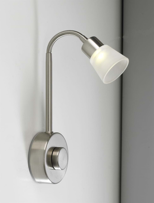 Picture of 3W LED Dimmable Bedside Wall Light Fitting in Brushed Nickel SY7307
