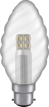 Picture of Manor Range LED Twisted Candle 3W Clear Available in ALL Cap Types