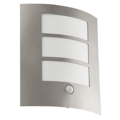 Outdoor wall light with stainless steel body and movement sensor