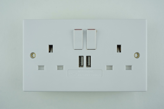 Picture of Twin Switched Socket with 2x USB Ports in White
