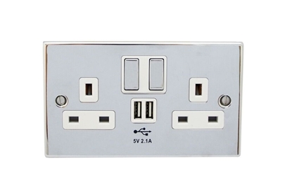 Picture of Twin Socket with 2x USB Ports Polished Chrome SY7687POL.CHR