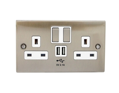 Picture of Twin Socket with 2x USB Ports Brushed Nickel SY7687BN