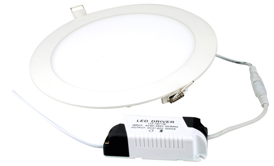Circular recessed panel with white trim and driver