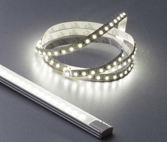 Reel of illuminated bright white LED strip