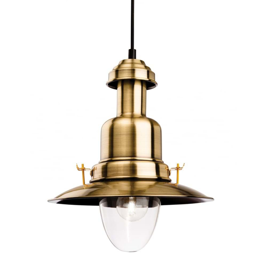 Traditional style pendant light in antique brass with a large glass shade