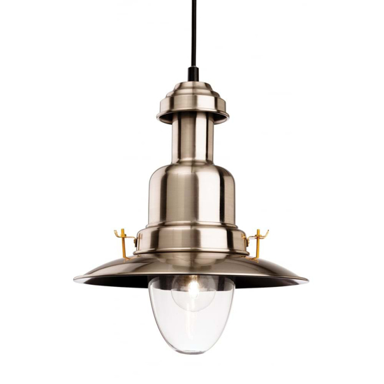 Traditional style pendant light in a brushed steel finish with a large glass shade