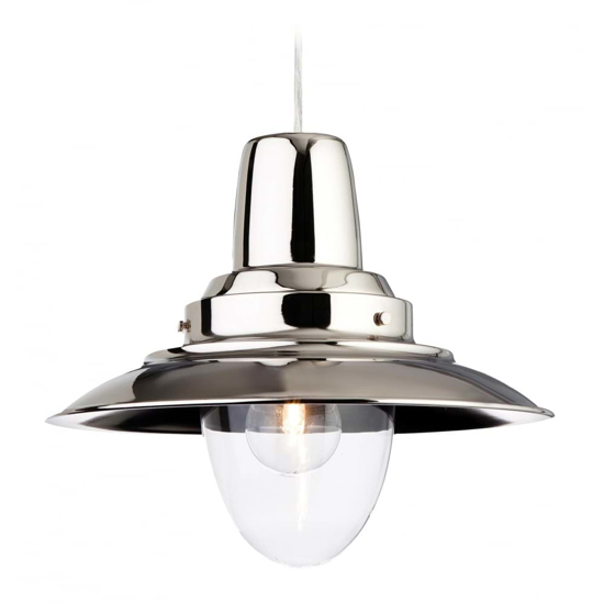 Traditional style pendant light in chrome with a large glass shade