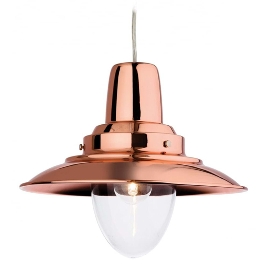 Modern twist on a traditional style pendant light in copper with a large glass shade