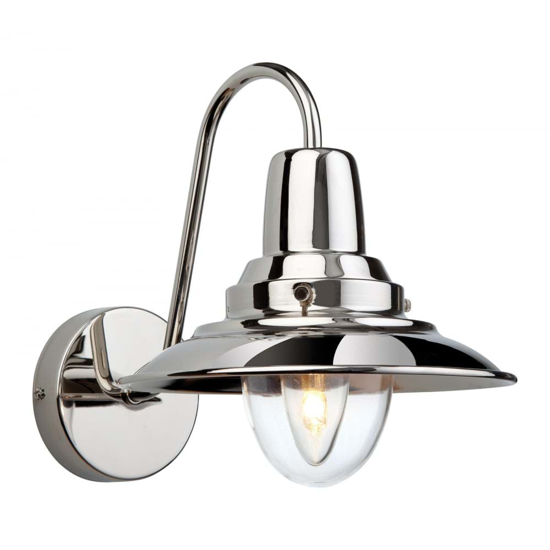 Modern twist on a traditional style wall light in chrome with a large glass shade