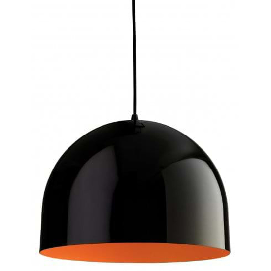 Large black ceiling light with orange interior