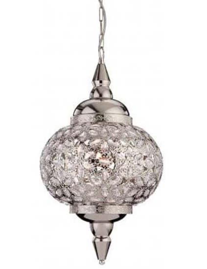 A stylish chrome pendant with clear acrylic detailing