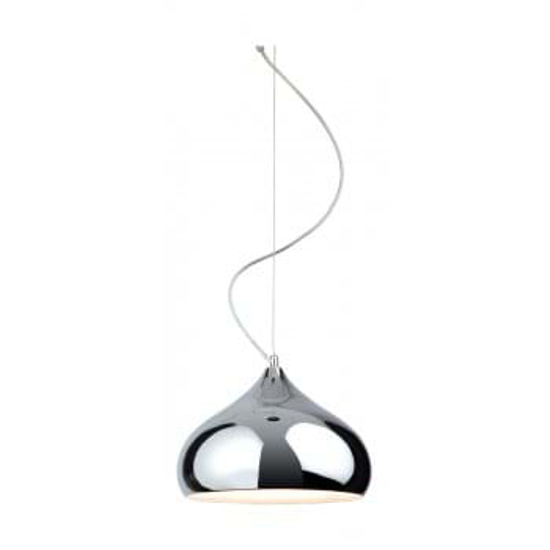 Stylish chrome pendant light with clear flex