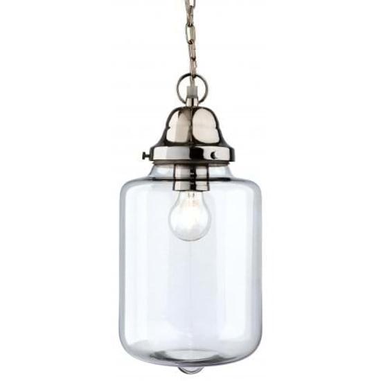 Glass shade pendant light with chrome lamp holder