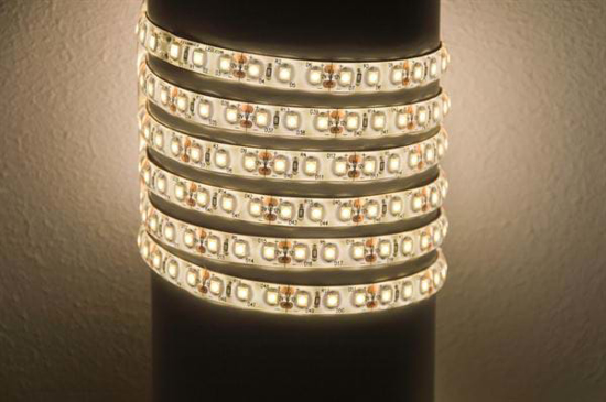 Reel of flexible bright LED strip in natural white