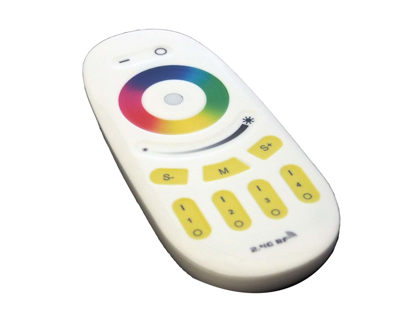 White hand held remote to control colour changing lighting