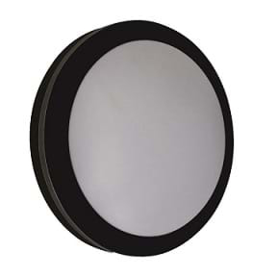 Black round wall light with opal diffuser