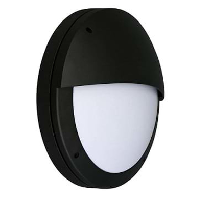 Black wall light with eyelid front