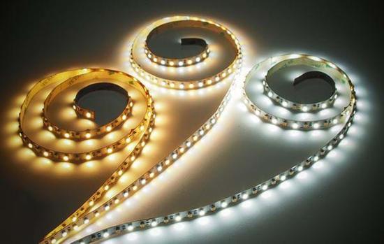 3 reels of LED illuminated LED strips showing colour options