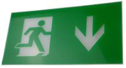 Running man down legend for exit sign
