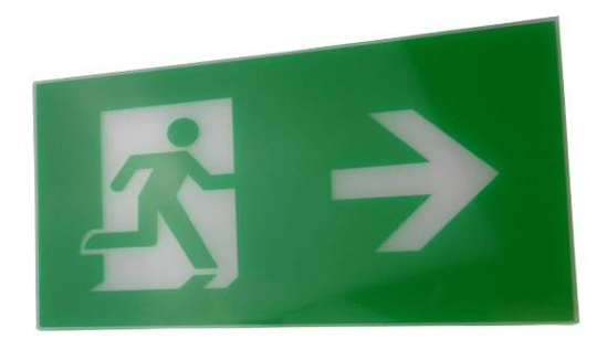 Running man right legend for exit sign