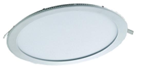 White recessed circular panel downlight